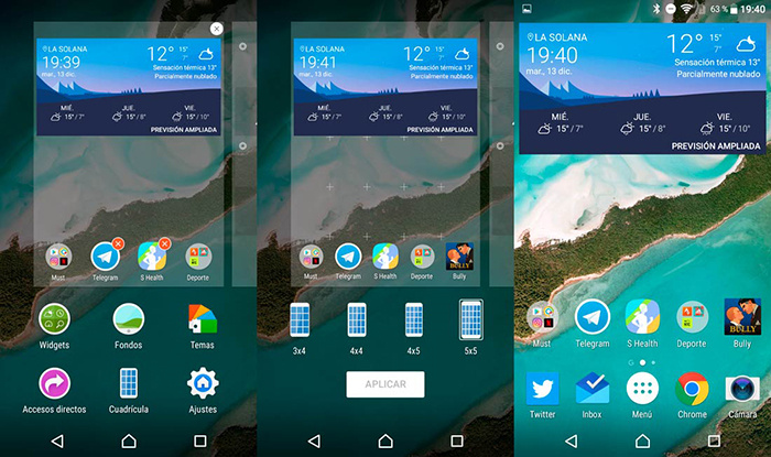 New beta of the Xperia Home launcher with customizable grid